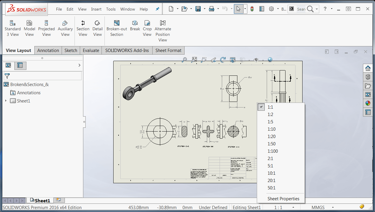 Solidworks 2016 Sheet Scale Control In Status Bar