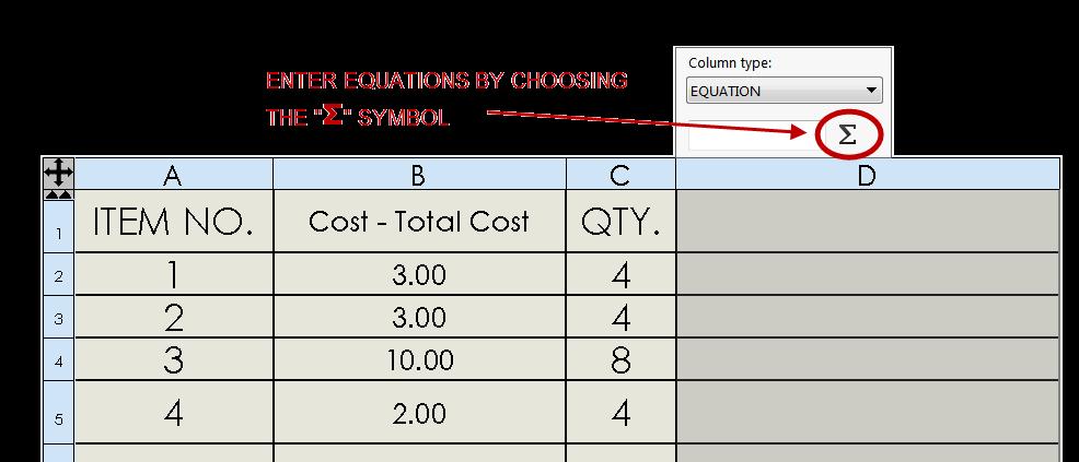 SOLIDWORKS BOM Equations