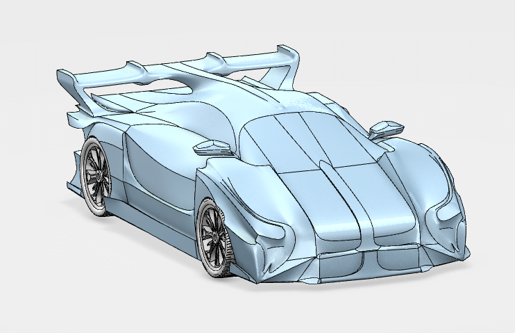 Isometric view of a Concept car made using symmetry SOLIDWORKS Industrial Design