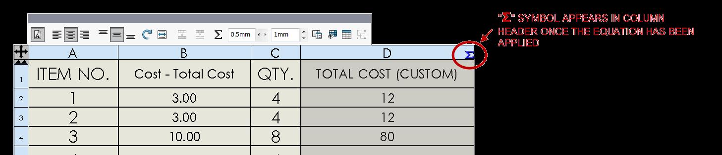 SOLIDWORKS BOM Equation results