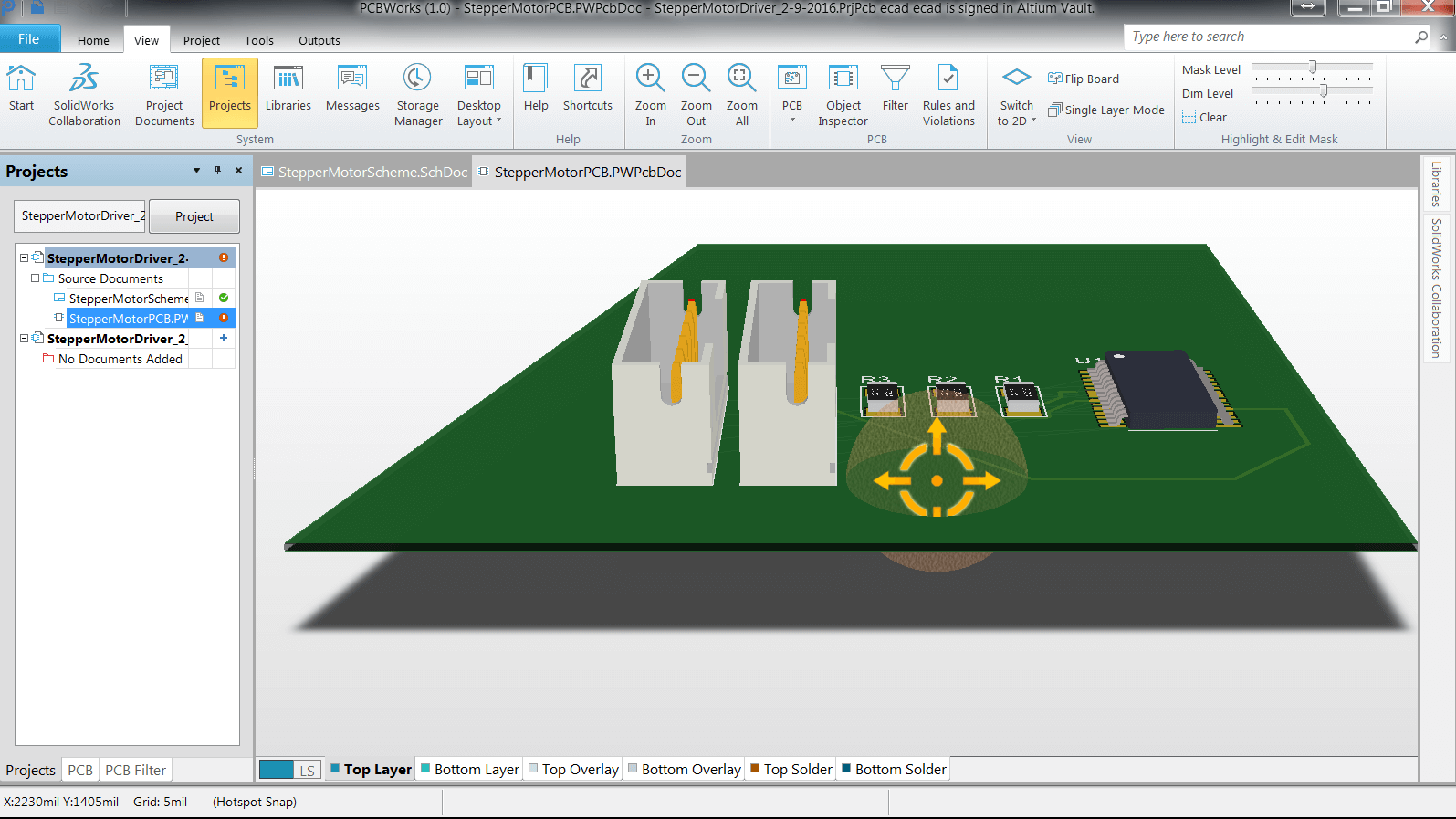 Solidworks pcb 3d navigation is a little different for Solidworks design table zoom