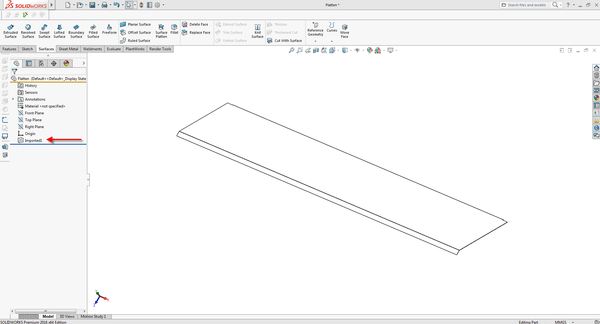 File imported into SOLIDWORKS
