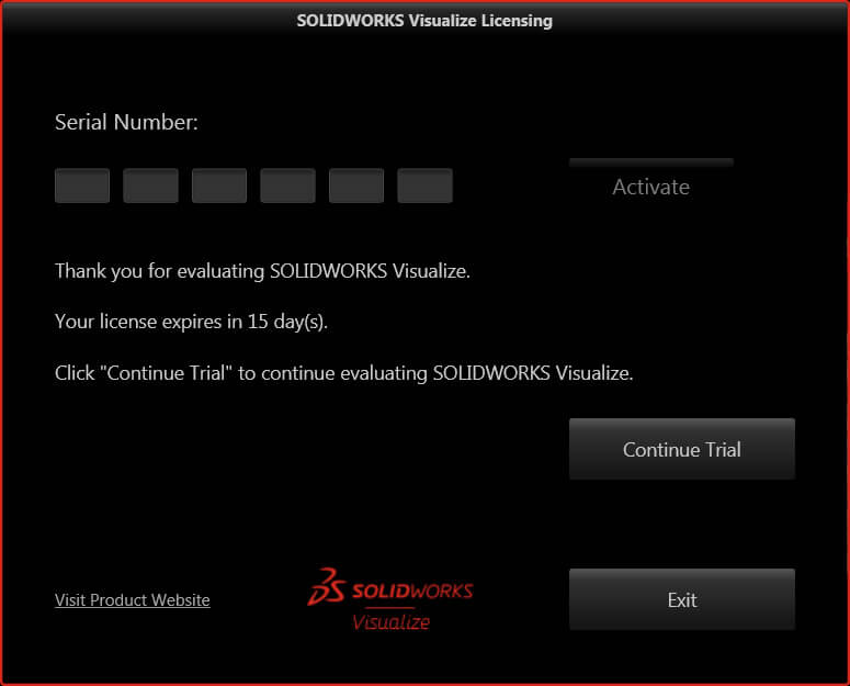 SOLIDWORKS Visualize Trial Activated