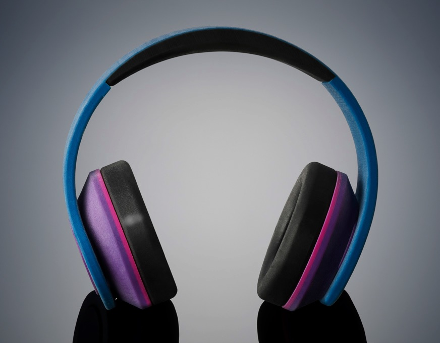 Headphones that were 3D printed in one piece using PolyJet materials