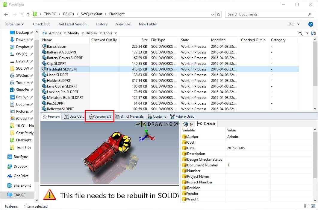 SOLIDWORKS PDM Vaulted Assembly