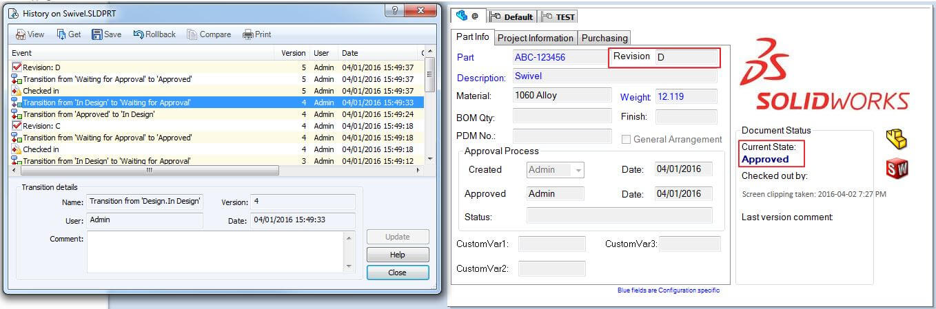 Select a previous file version with SOLIDWORKS PDM Rollback