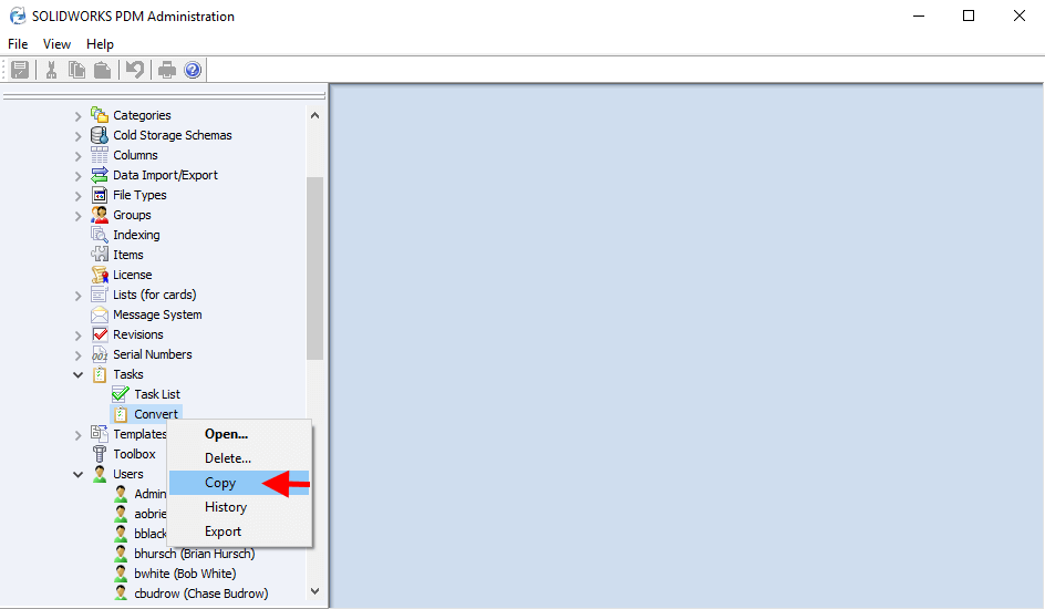 Copy SOLIDWORKS Convert Task