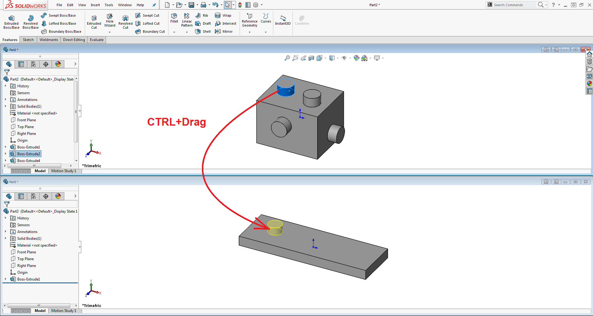 Copying SOLIDWORKS features from one document to another