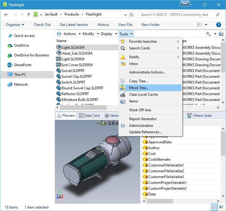 SOLIDWORKS PDM in Windows Explorer