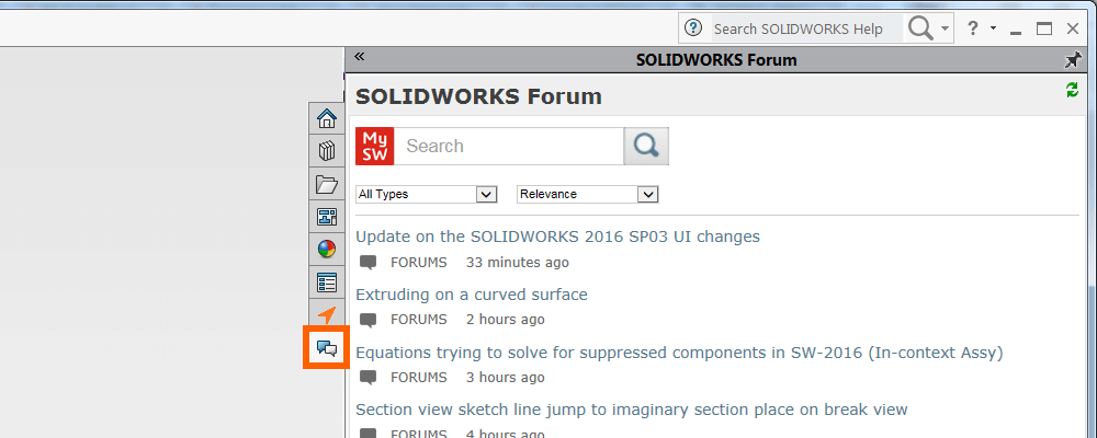 access mysolidworks from the SOLIDWORKS Forum Tab