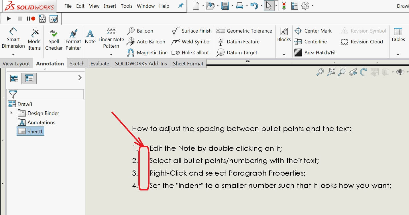 How To Manage Solidworks Drawing Note Bullet And Number Spacing