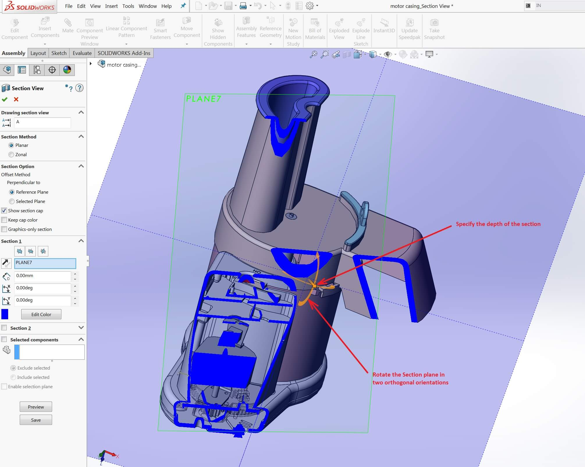 Customized SOLIDWORKS Section View