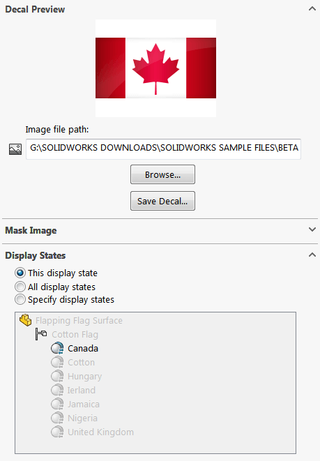 SOLIDWORKS Decal Display State