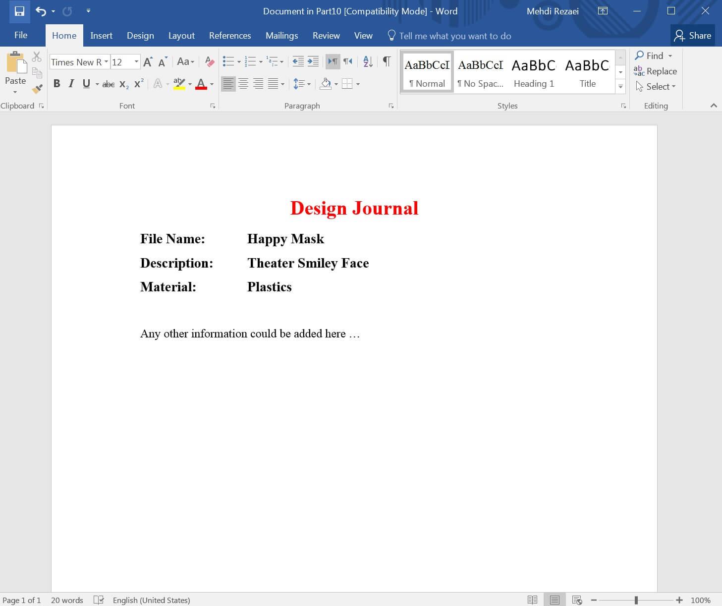 Design Journal Added info
