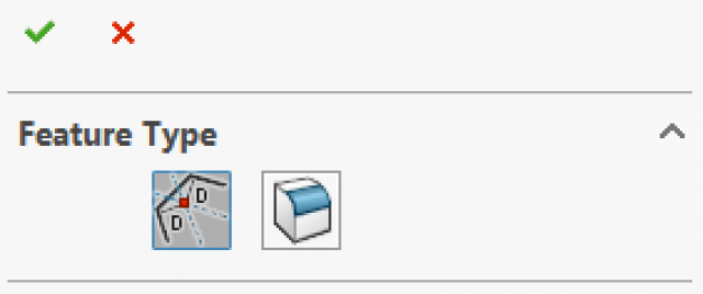 """Step 3: Choose the Feature Type and select the """"OK"""" checkmark."""