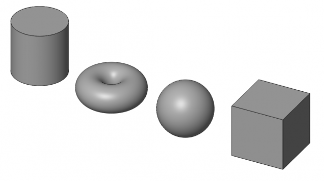 Cylinder, Torus, Sphere, and Cube