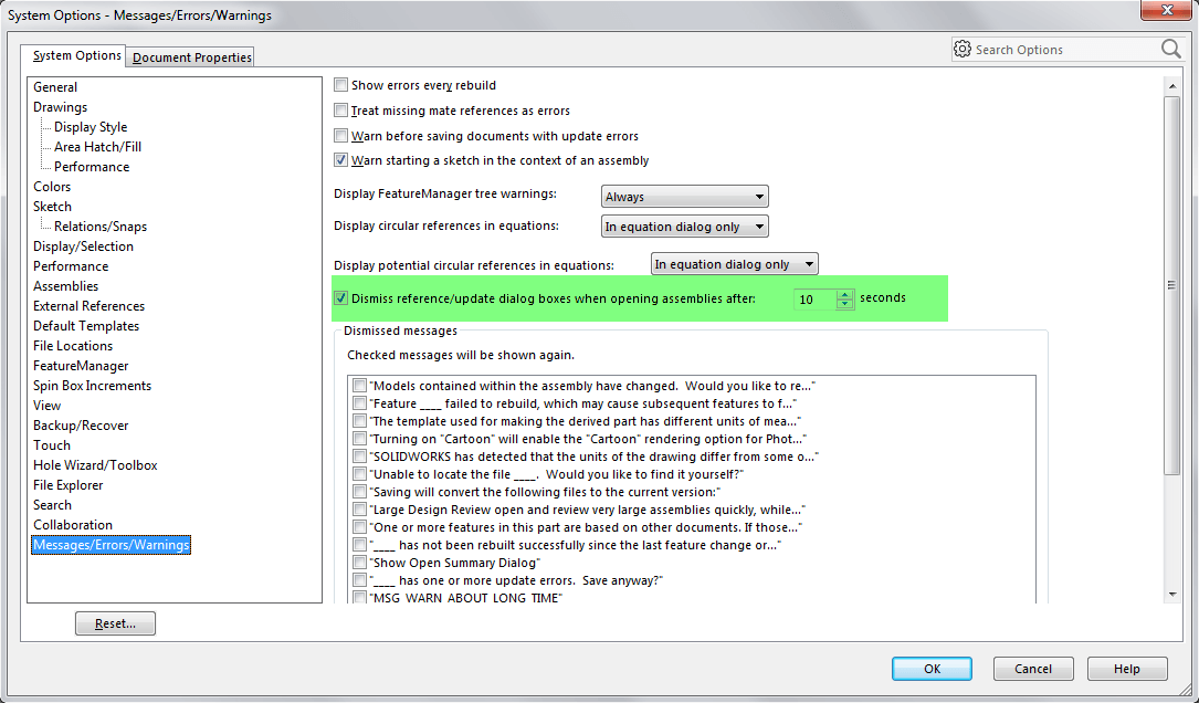 SOLIDWORKS Options for Messages/Errors/Warnings