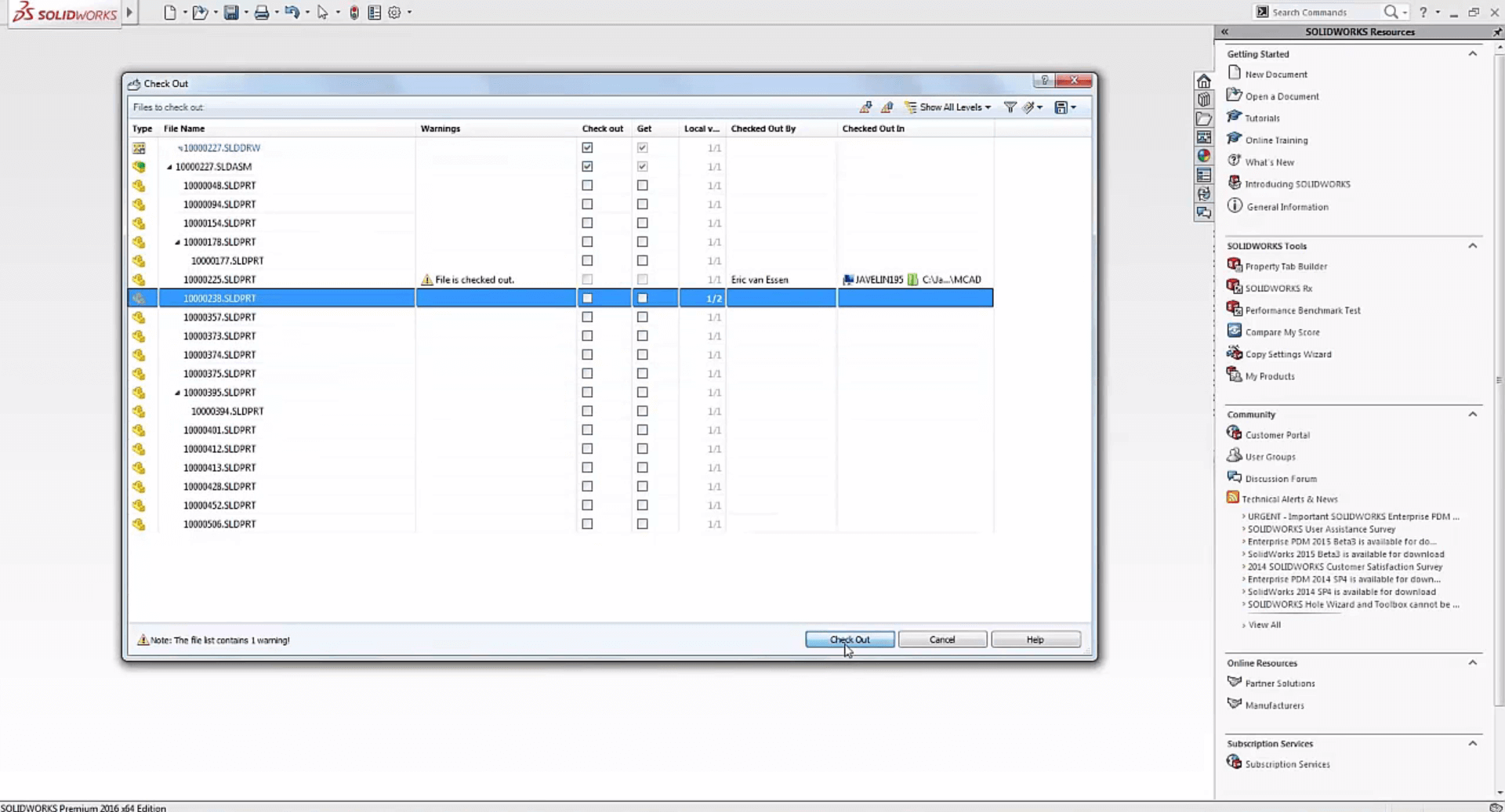SOLIDWORKS PDM Files in Check Out dialog