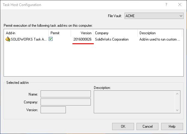 Task Host Configuration Version