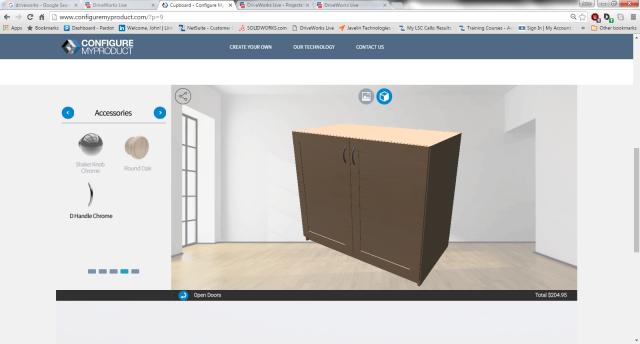 Cupboard with wood door and D-handle