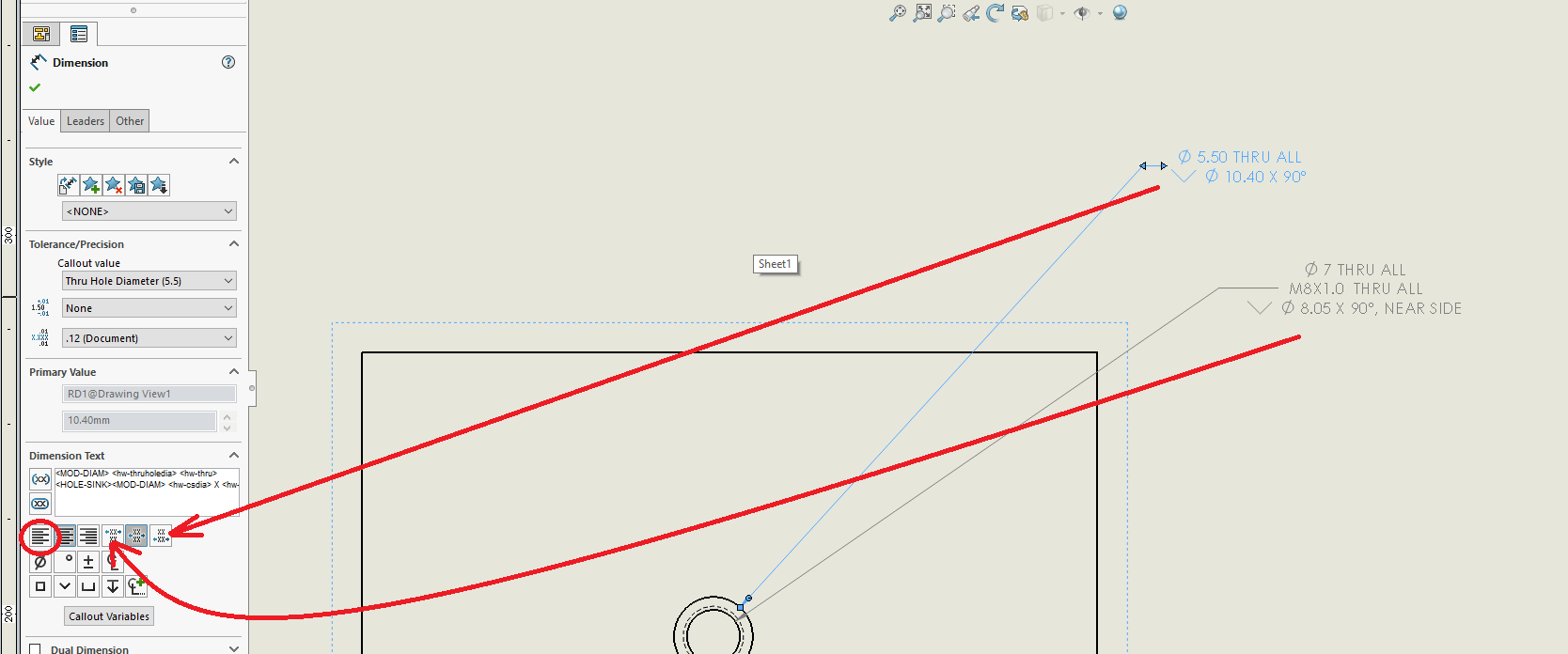 SOLIDWORKS Hole Callouts