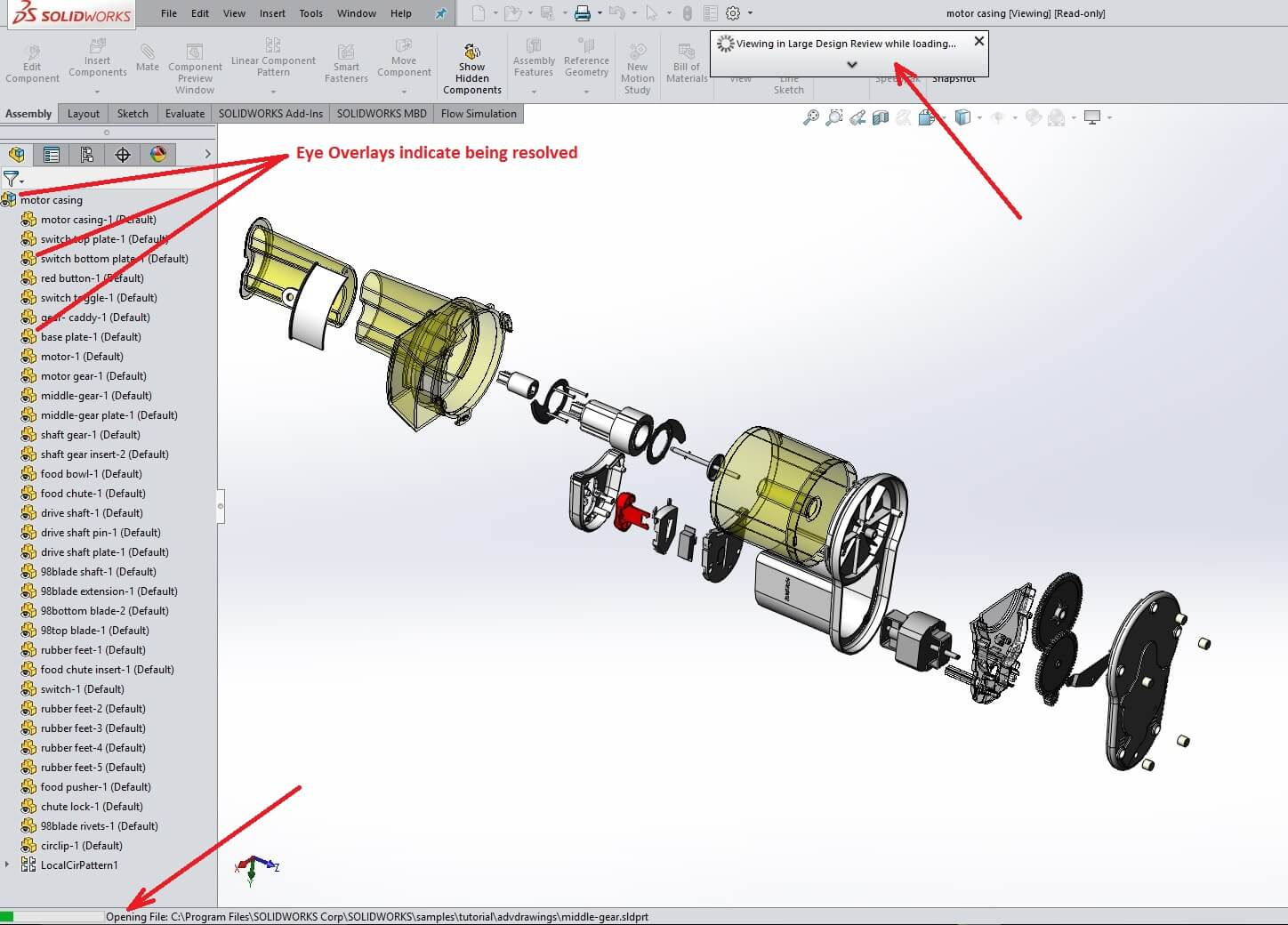 Opening SOLIDWORKS Large Assemblies has improved for 2017