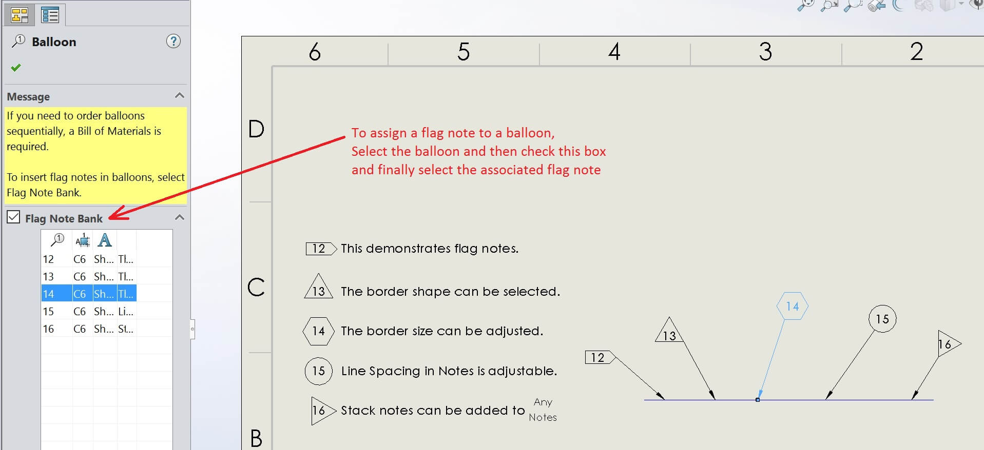 Assign a Flag Note to a Balloon
