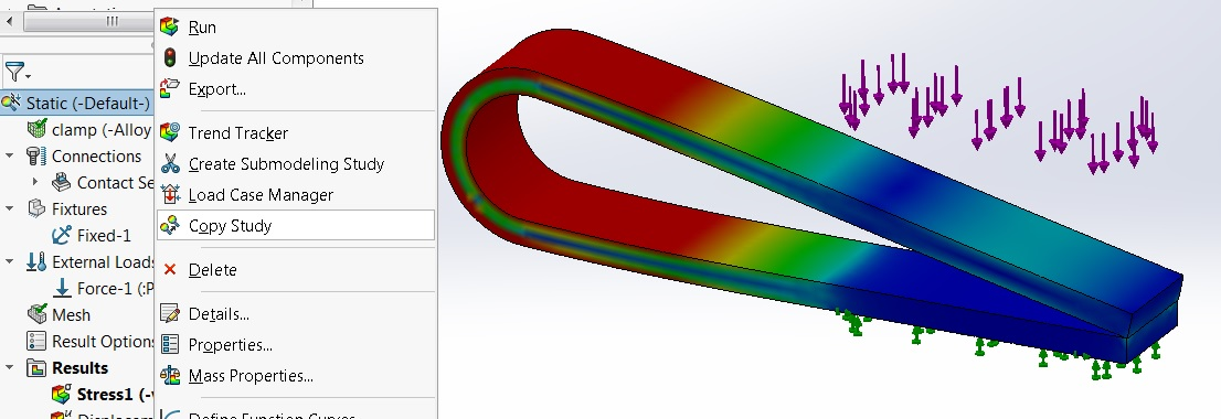 SOLIDWORKS Simulation Copy Study