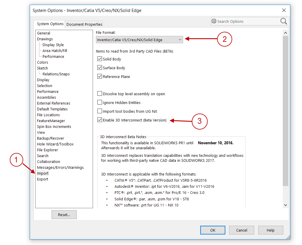 Enable SOLIDWORKS 2017 3D Interconnect
