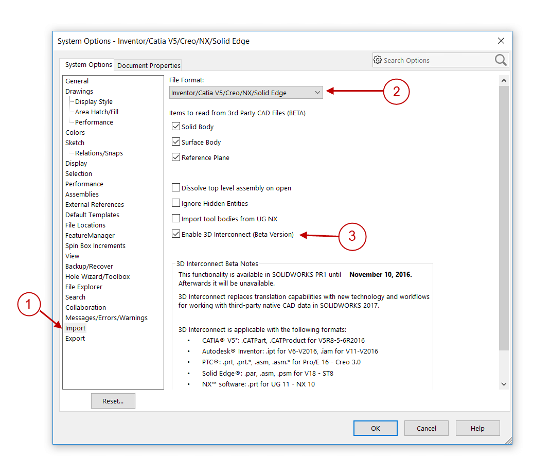 How to enable and use SOLIDWORKS 3D Interconnect