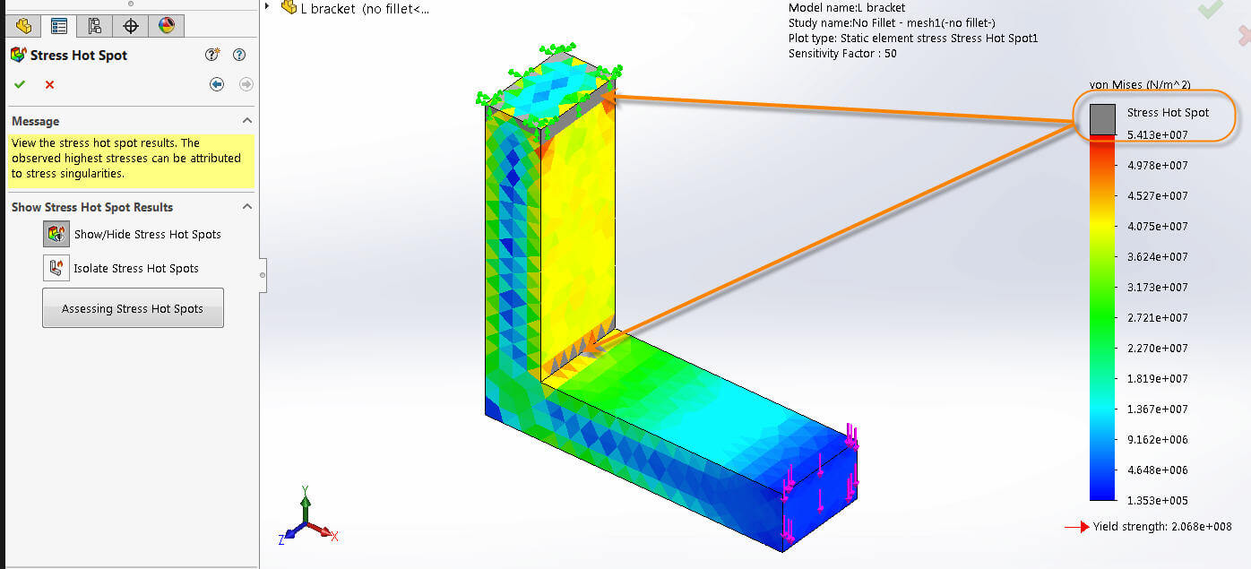 Solidworks Simulation Stress Hot Spots Show You Where To