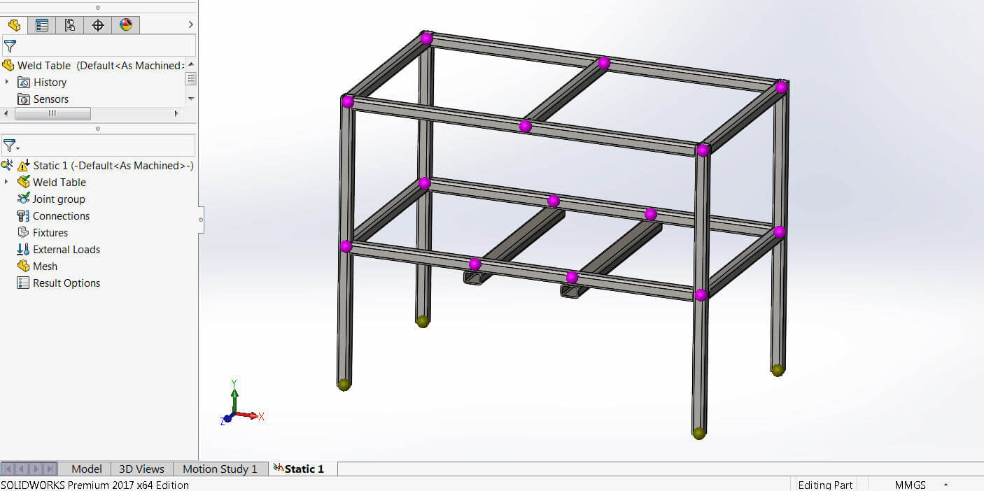 SOLIDWORKS Simulation Beam Joints Calculated