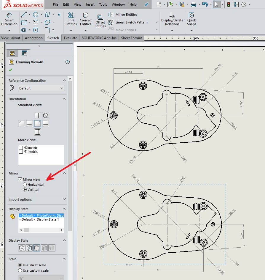 Mirror SOLIDWORKS Drawing View Vertically