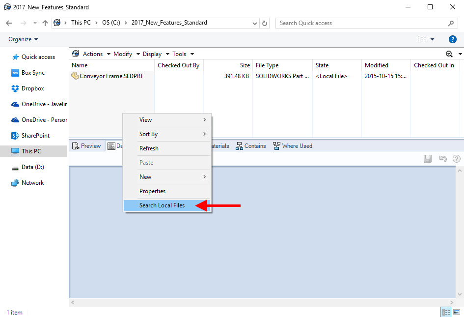 SOLIDWORKS PDM Search Local Files command