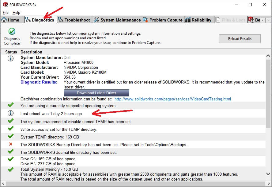 SOLIDWORKS Rx 2017 Provides a Reliability Report & Reboot Check