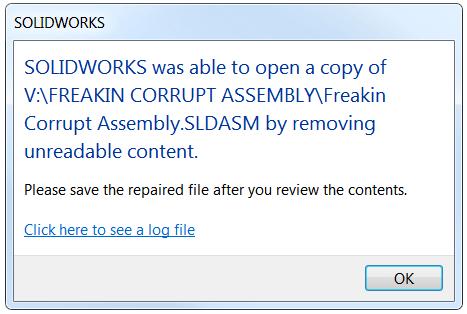 Corrupt SOLIDWORKS file