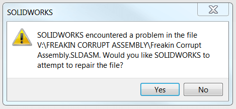 Repair corrupt SOLIDWORKS file