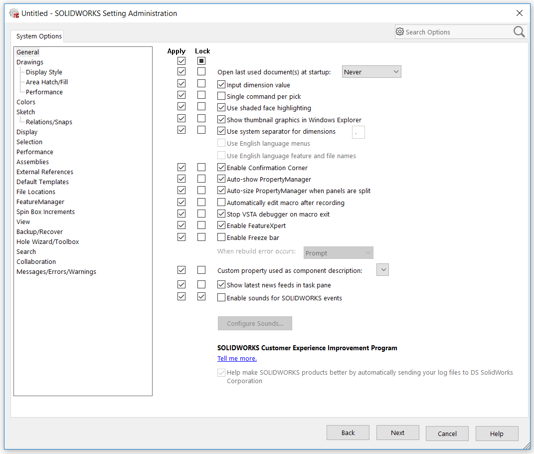 Lock SOLIDWORKS System Options