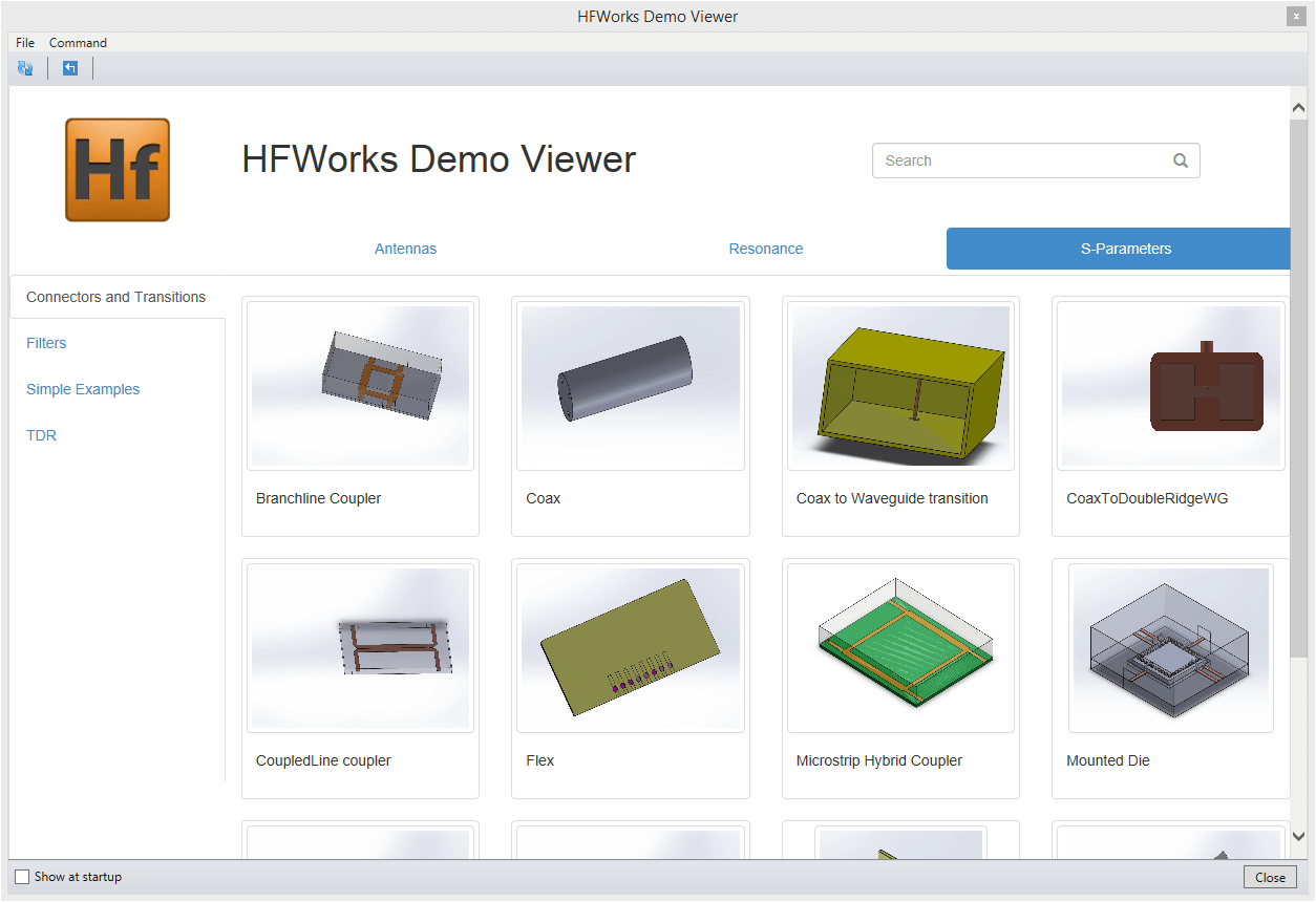 Selecting the model from demo viewer