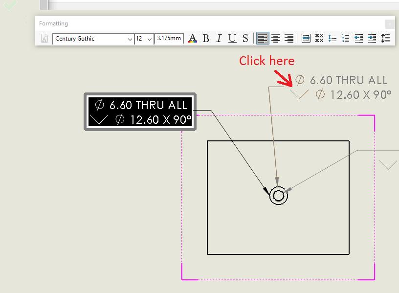 Select a Hole Callout