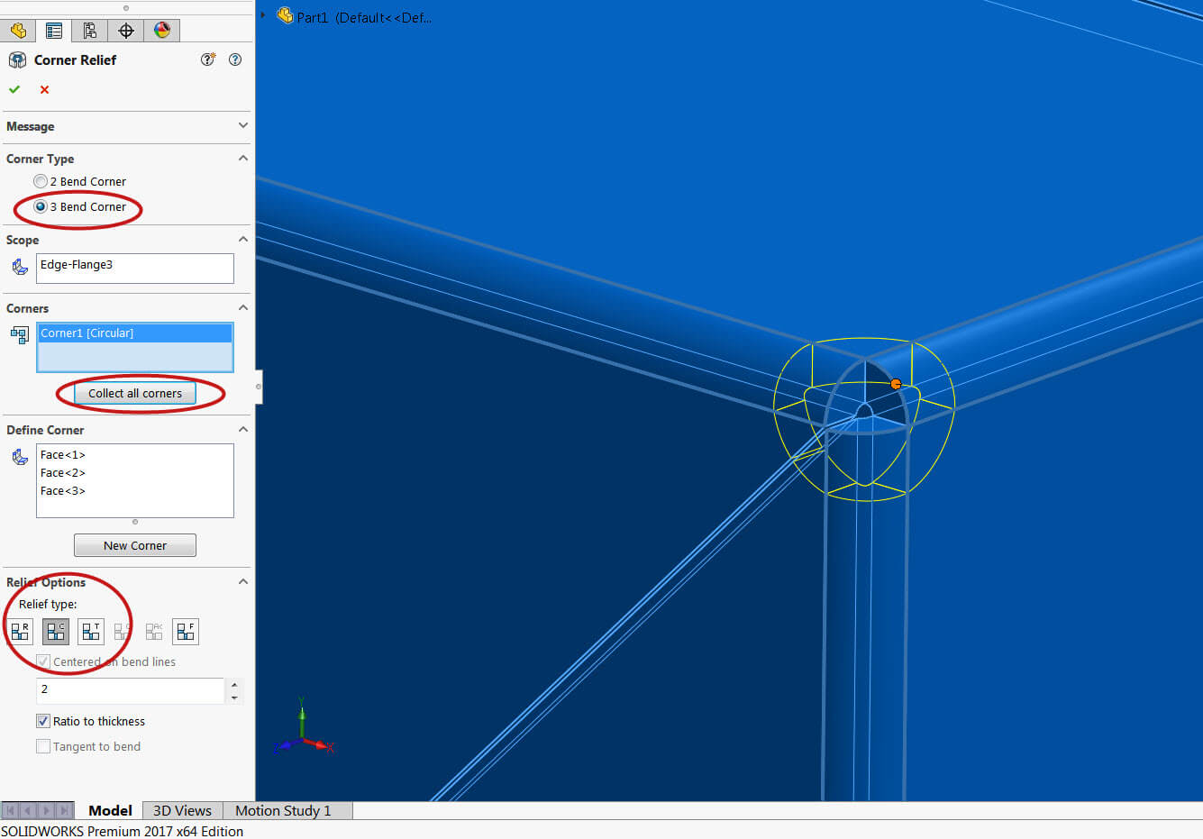 Solidworks 3 Bend Corner Relief Is New For Solidworks 2017