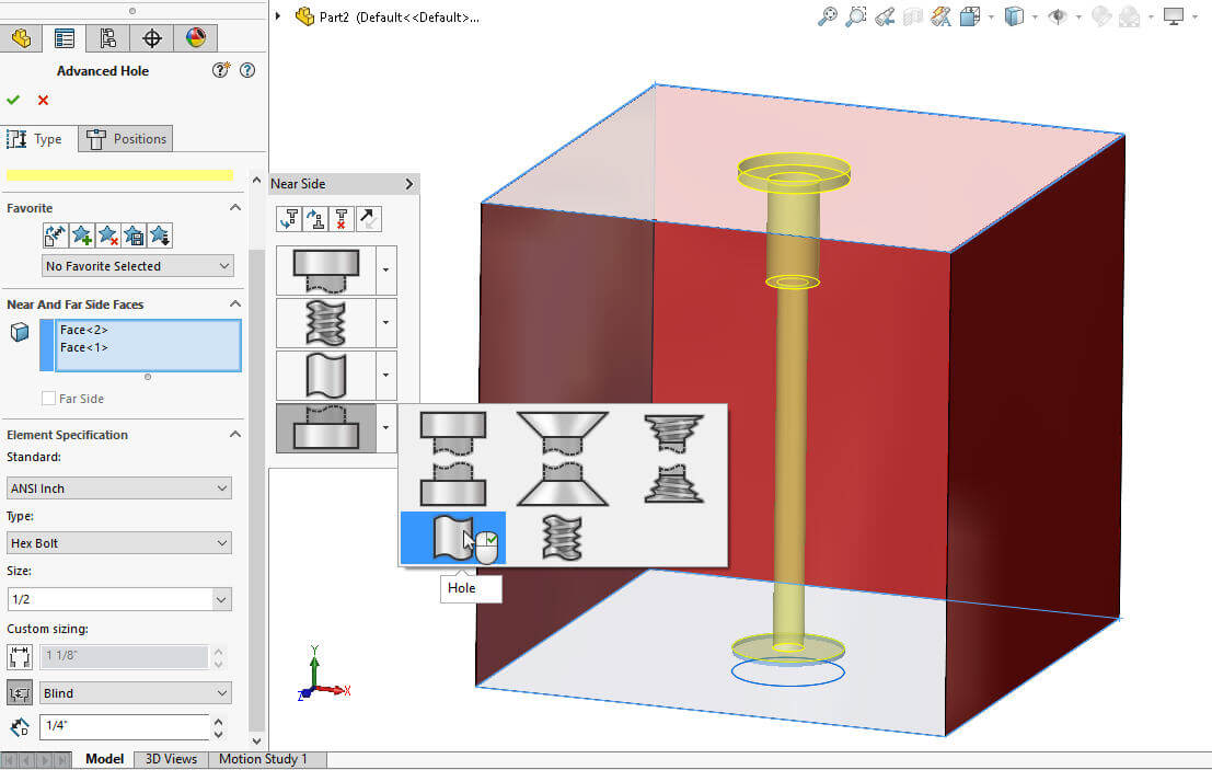 SOLIDWORKS 2017 Advanced Hole Wizard