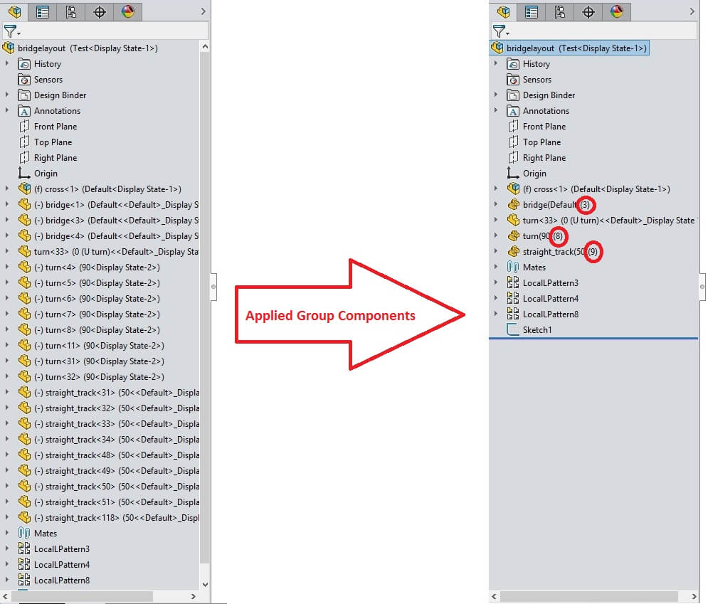 Feature Manager Tree Before and After Grouping Components