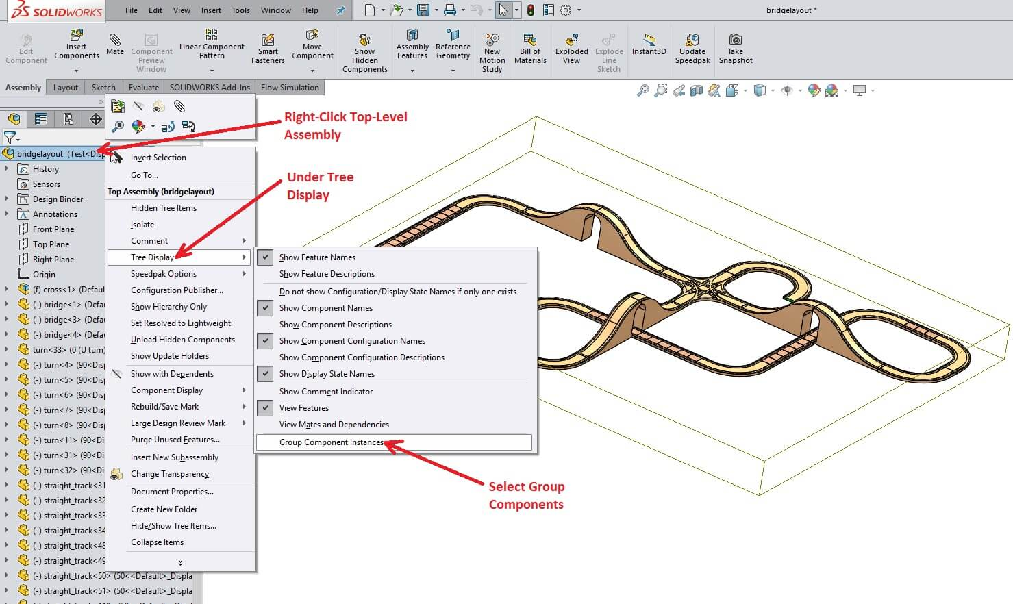 SOLIDWORKS Group Components Instances in Large Assemblies