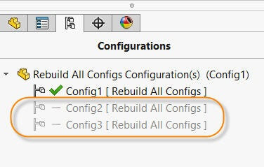 Inactive configurations with '-' sign have not been rebuilt