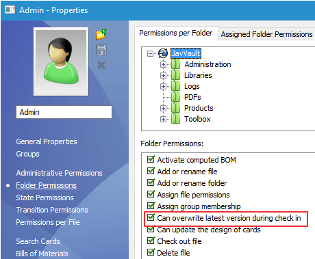 Can overwrite latest version during check in option