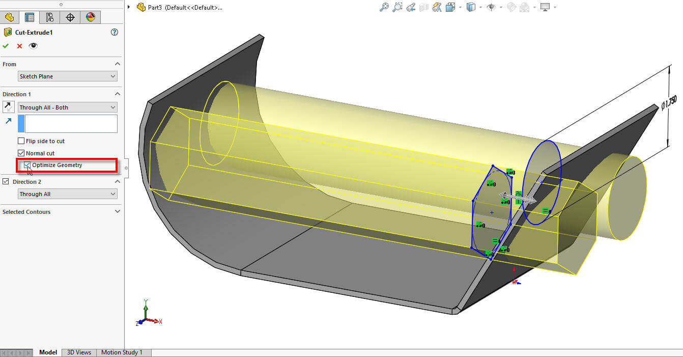 SOLIDWORKS 2017 Normal Cut Optimize Geometry