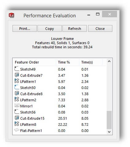 SOLIDWORKS 2017 Feature Pattern Performance