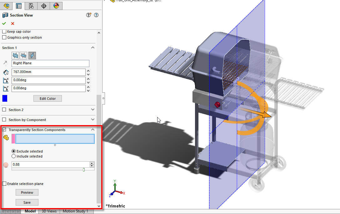 SOLIDWORKS Transparent section views