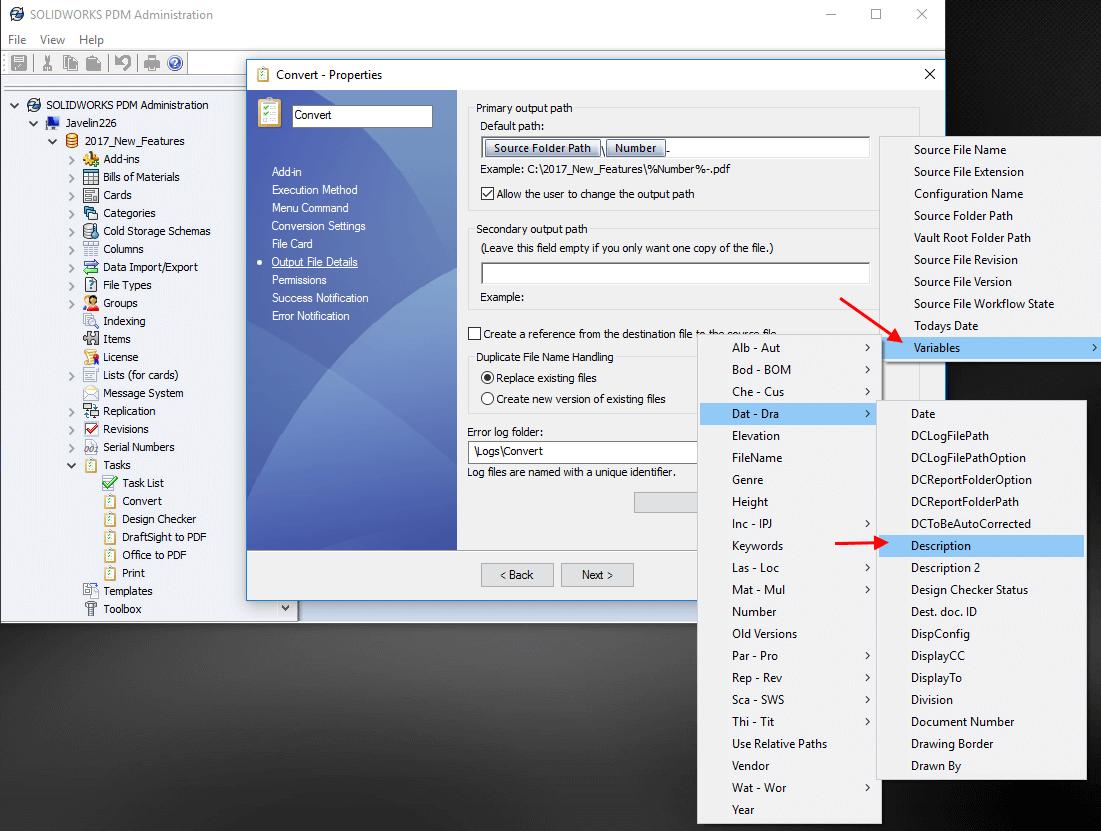 SOLIDWORKS PDM Convert Task Select Variables
